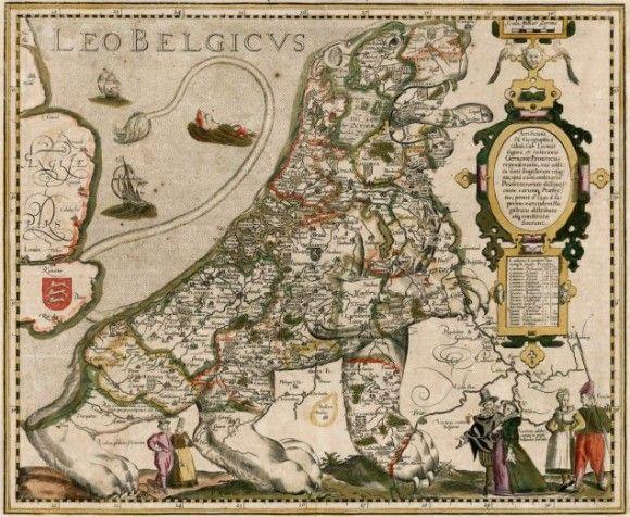 レオ・ベルジカス:現在のベルギー、オランダ、ルクセンブルグを獅子の形で表した地図。1617年、ピーター・ファン・デル・キーレ作。オリジナルはミヒャエル・アイツィンガー