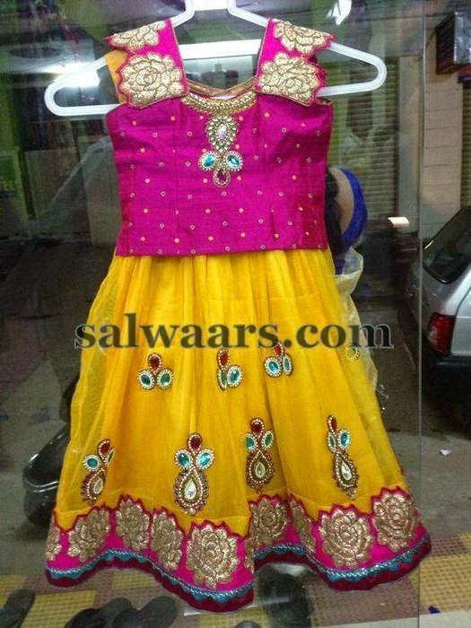 Stone Work Yellow Pink Lehenga | Indian Dresses