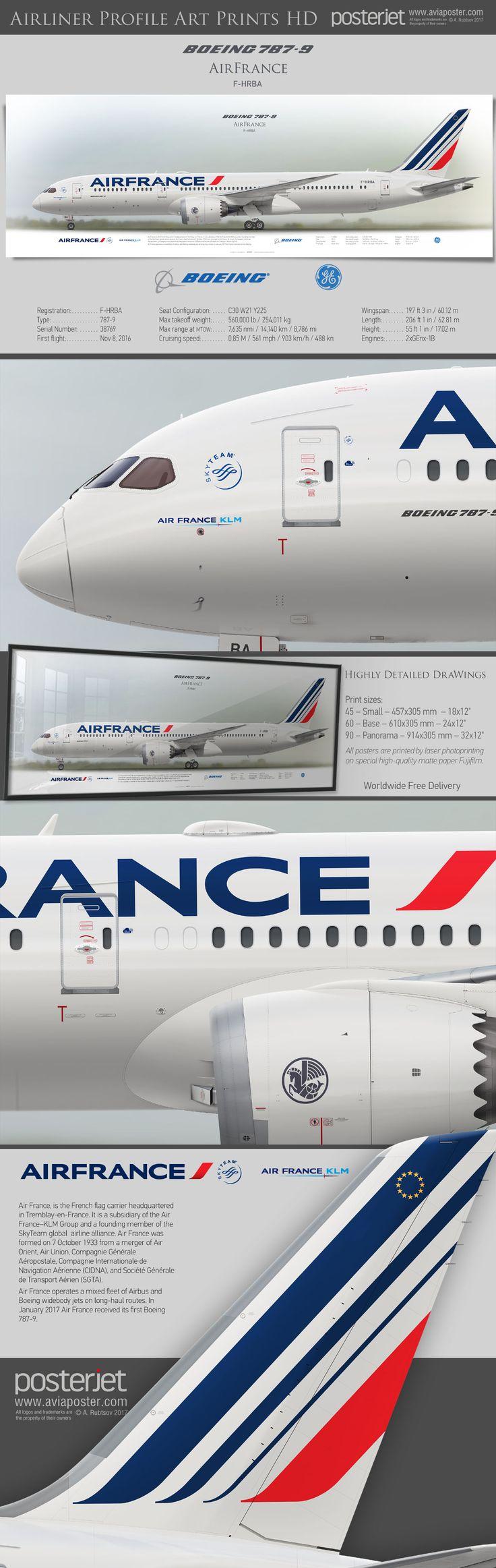 Boeing 787-9 Air France F-HRBA   www.aviaposter.com   #airliners #aviation #jetliner #airplane #pilot #aviationlovers #avgeek #jet #airport #pilotlife #cabincrew #dreamliner
