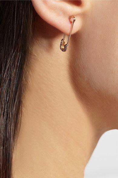Ileana Makri Safety Pin 18 Karat Rose Gold Diamond Earring