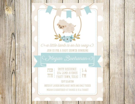 Little Lamb Baby Shower Invitation In Blue By Emmyjosparties Emmyjos Parties 2019 Pinterest Invitations And