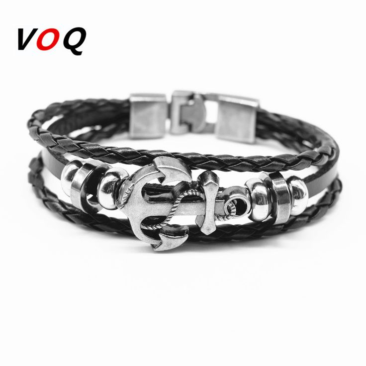 2017 Fashion Charm Anchor Bracelet Popular Bangle Handmade Black Leather Bracelets Men Jewelry pulseras