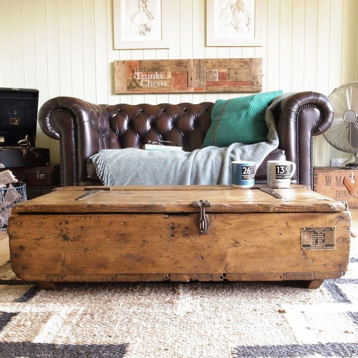 INDUSTRIAL vintage FACTORY pine PLANK country RUSTIC tool CHEST box TRUNK table