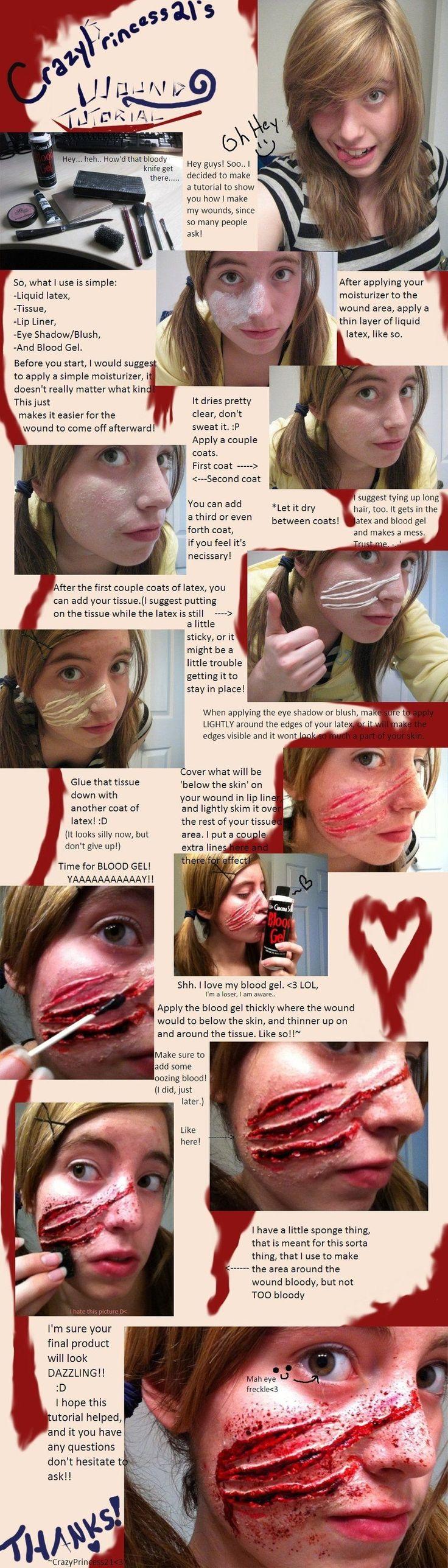 Fake wound DIY Easy tutorial - Horror Halloween Makeup - Claw marks, Werewolf, Demon, Animal Attack