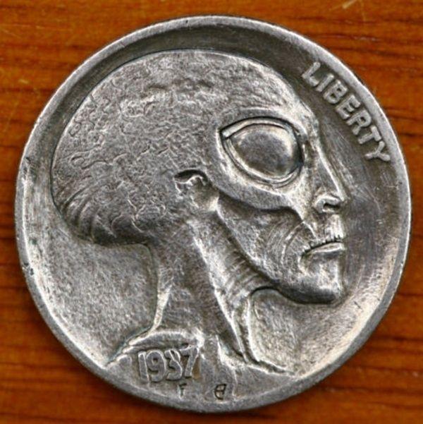 Extraterrestrial Hobo NickelsCoins Munten, Aleksey Saburov, Hobo Nickel, Hobonickel, Coins 1937, Coins Reveal, Aliens Head, Money Aliens, Aliens Coins