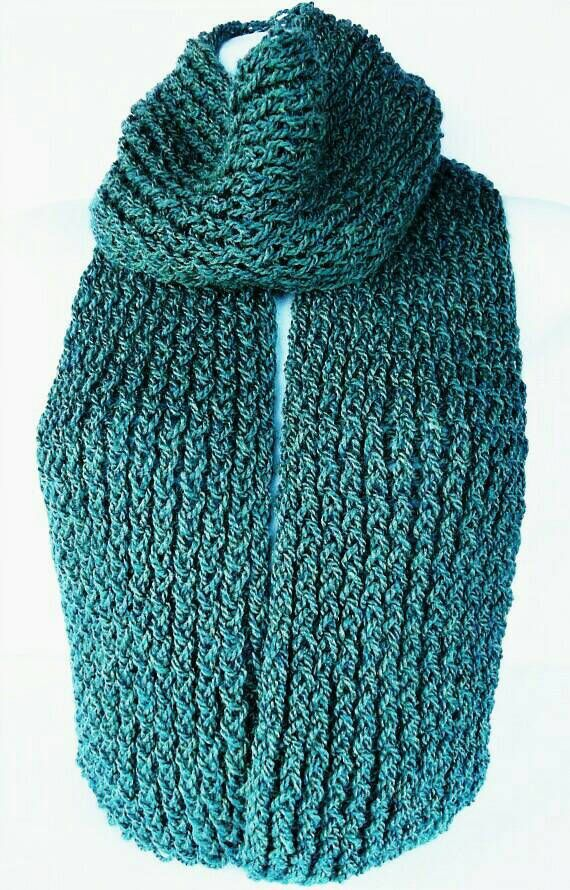 SALE ITEM  Teal knitted scarf boho knit scarf teal wool