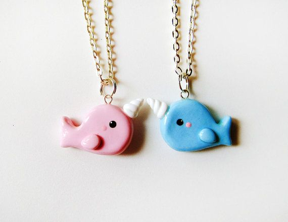Best Friends Pink and Blue Narwhal Necklaces by MadAristocrat, $24.00