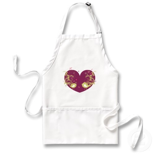 Beautiful song birds in love apron with a red heart. Great kitchen apparel.