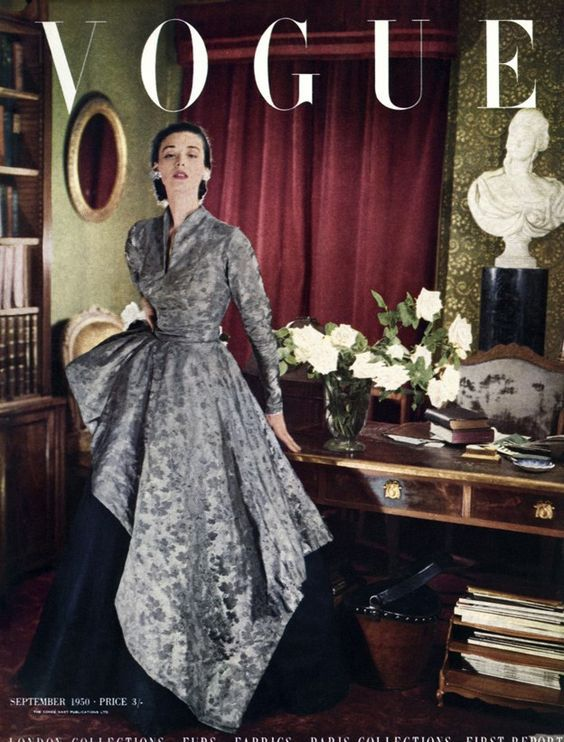 British Vogue September 1950, London and Paris Collection, cover by Cecil Beaton, shot at Reddish House.