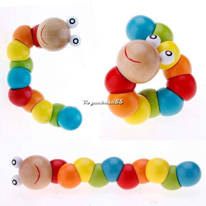 Baby Kids Twisted Caterpillars Wooden Toy Infant Creative Educational Gift VE4A #BrandNew