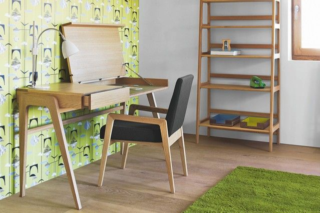 Chic Home Office Furniture Designs both the furnishings and the wallpaper have a strong Scandinavian theme Modern Furniture Designs furnitur...