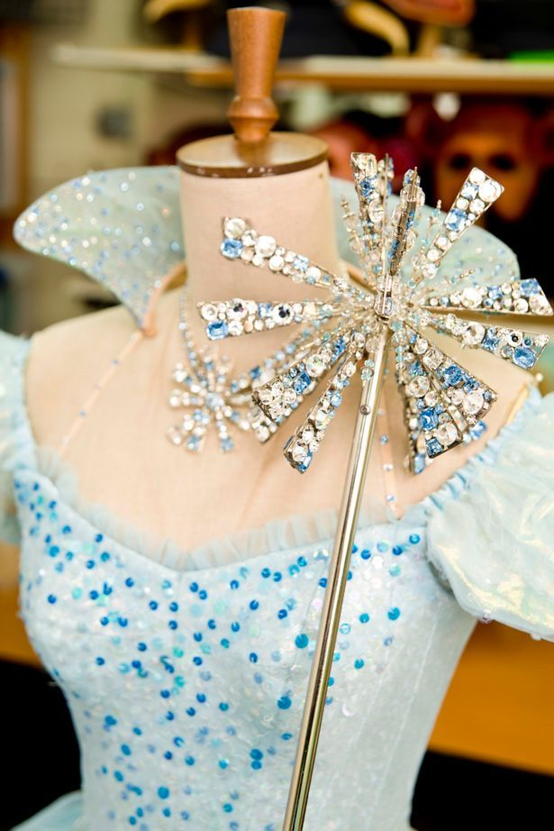 Glinda's Bubble dress and wand behind the scenes at the musical Wicked.