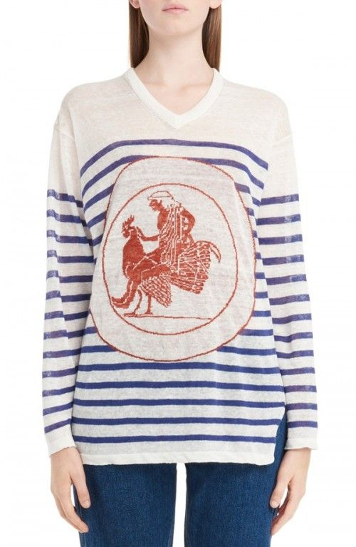 Loewe+Women's+Stripe+Linen+Sweater+|+Clothing
