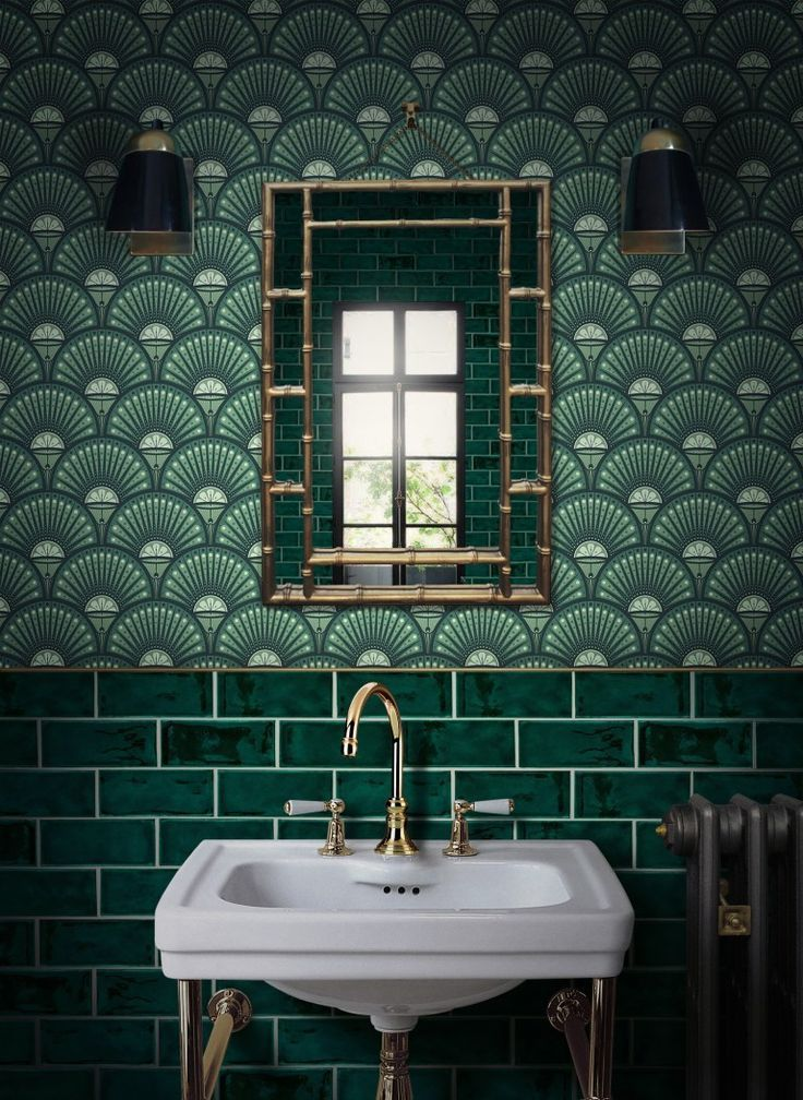 bold green bathroom design with green wallpaper and green
