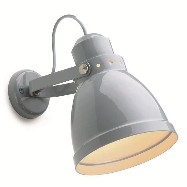 Wandlamp grijs/blauw. DeJaren30Fabriek.nl uw specialist in wandlampen,, Bakeliet schakelmateriaal, Oude fabriekslampen, Industrieéle hanglampen.