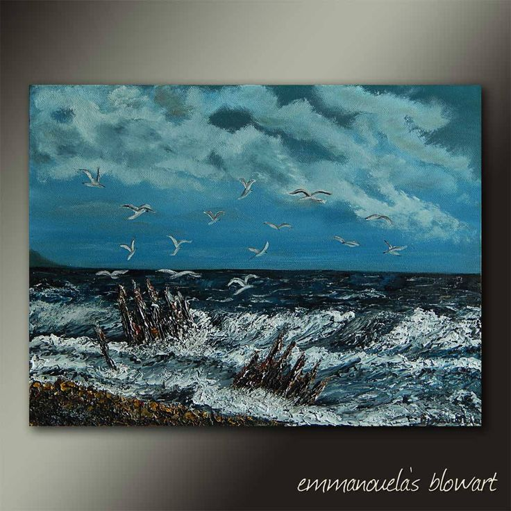 Whispering tales-Original art seascape oil painting on canvas by Emmanouela-Size:40x30cm (15.7''x11.8'')Deep edges canvas. by Blowart on Etsy
