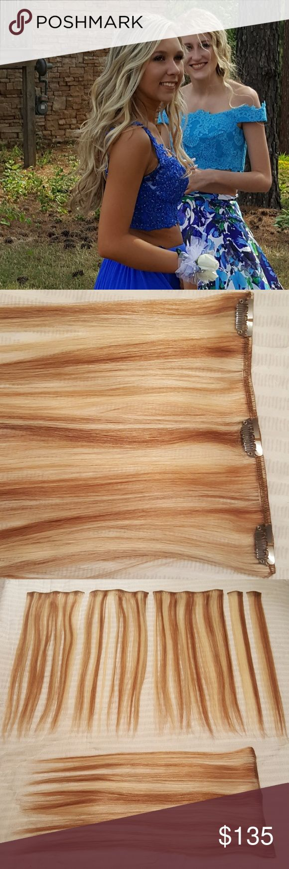 """REMY 14"""" clip in hair extensions Blonde Frost My daughter wore 6 of the pieces in this package last weekend. The ones she wore have been washed and re-straightened. Also throwing in a free Pink Satin Storage Case. 100% Human Hair, can be cut, washed, dyed, curled or straightened. 14"""" long.   Euronext Remy Clip-in 14-Inch Human Hair Extensions package contents include?one?8"""" wide weft,?one?7"""" wide weft,?one?6"""" wide weft,?one?5-3/4"""" wide weft,?four?1-1/2"""" wide weft,?two?1"""" wide wefts with no…"""