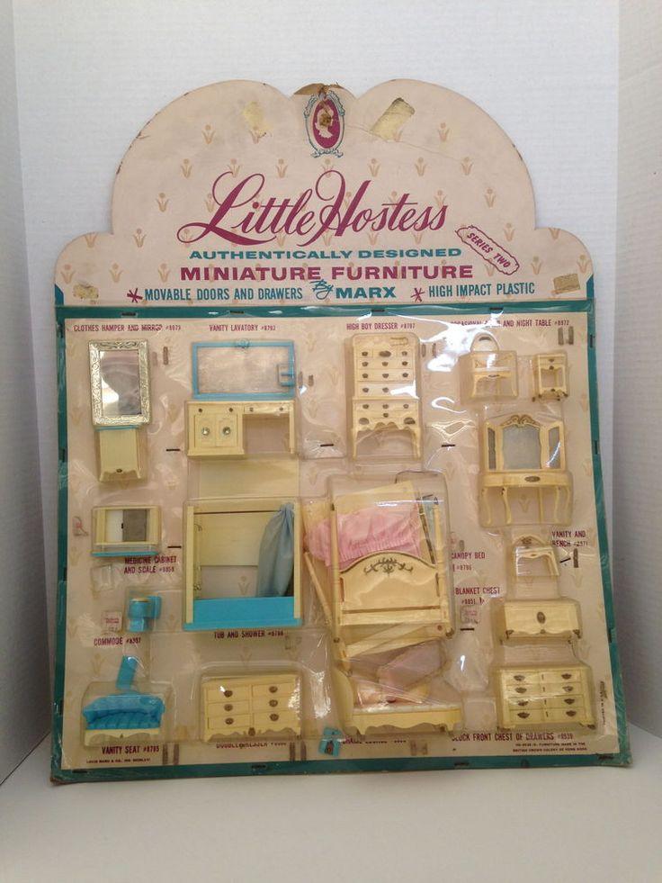 Amazing Vintage Store Display Marx Plastic Doll Furniture Little Hostess Bed Bath  Room