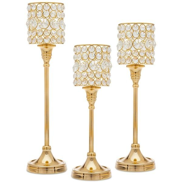 Godinger Lighting by Design 3-Pc. Crystal Taper Candlestick Set ($144) ❤ liked on Polyvore featuring home, home decor, candles & candleholders, gold, set of 3 candle holders, crystal home decor, godinger, set of three candle holders and set of 3 candlesticks