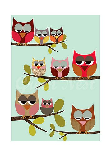Cute Owls sitting on a branch collage poster print