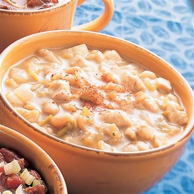 Southwest Chicken Chili: Hearty chicken chili is minutes away with cooked chicken, seasonings, canned white beans, chicken broth and chopped green chiles.