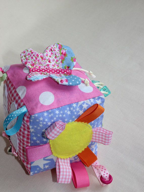 Pink baby Block / Plush baby girl block / Soft by PopelineCo, €24.95