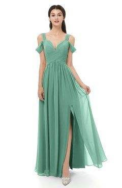 1fc18c085baf ColsBM Raven Beryl Green Bridesmaid Dresses Split-Front Modern Short Sleeve Floor  Length Thick Straps A-line
