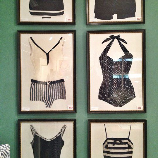 Something similar for the beach cottage?...Vintage Bathing Suit Wall Art High Point Spring Market 2013 | Apartment Therapy