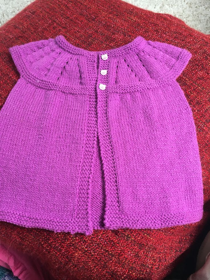 Girls knitted from top down cardigan.