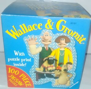 WALLACE & GROMIT A CLOSE SHAVE 100 PIECE JIGSAW PUZZLE WH PUZZLE PRINT and BOXED