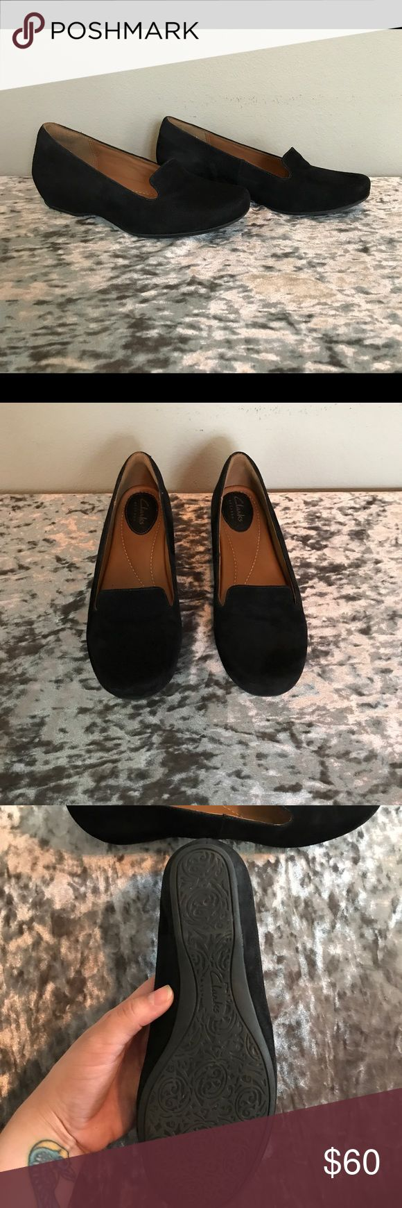 FINAL PRICE REDUCTION Clarks Suede Loafers These shoes are in excellent condition! They are comfy and look super cute with skinny jeans. Let me know if you have any questions. :) Like New Clarks Shoes Flats & Loafers