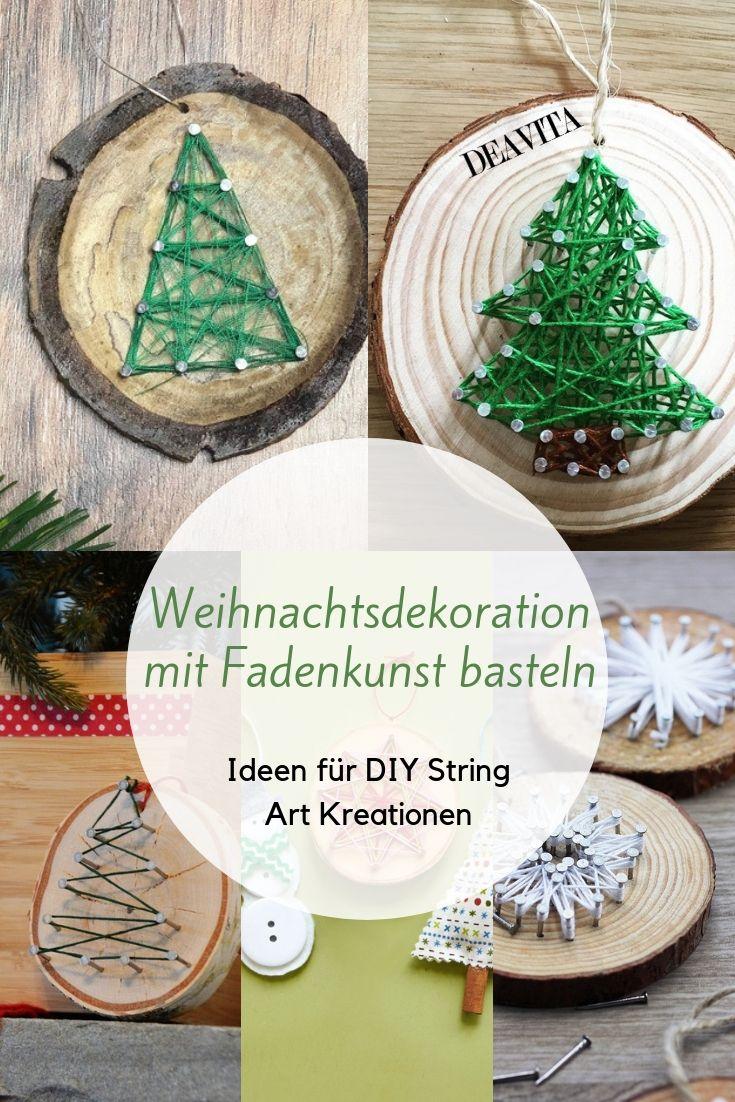 String #Art handelt von Nageldrucken aus Holzscheiben, Wolle und …   – Basteln