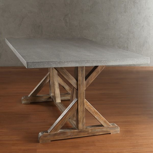 TRIBECCA HOME Benchwright Rustic Pine Trestle Concrete Dining Table    Overstock Shopping   Great Deals On