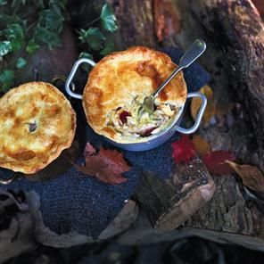Chicken, chorizo and cider pot pies recipe. ...♥♥... Classic chicken pies with chorizo and cider make a perfect winter warmer on a cold night.
