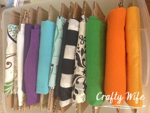 Fabric storage in a rolling cart by Crafty Wife