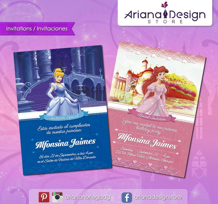 #printable #invitation #disneyprincess #cinderella #littlemermaid #ariel #cenicienta #arianadesignstore #invitacion #fiestainfantil #cumpleaños