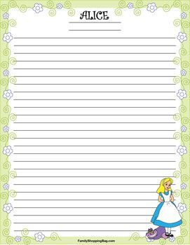 Stationery 1 Alice, Alice In Wonderland, Stationery - Free Printable Ideas from Family Shoppingbag.com