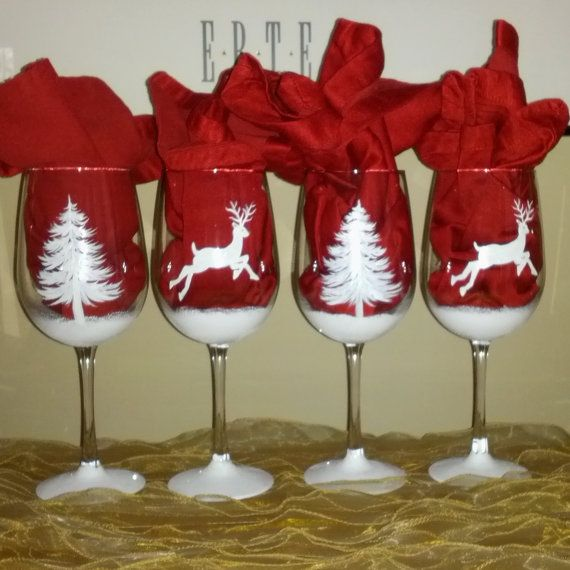 White Christmas shimmery reindeer and pine tree by GlassesbyJoAnne, $70.00
