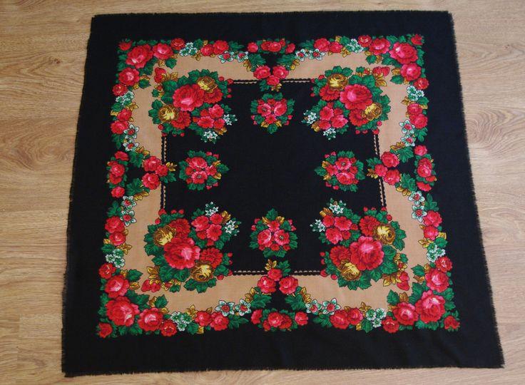 Vintage Black & Beige Polish Shawl Russian Shawl Ukrainian shawl Floral square headscarf Roses Neck scarf neckerchief Babushka kerchief USSR by VintagePolkaShop on Etsy