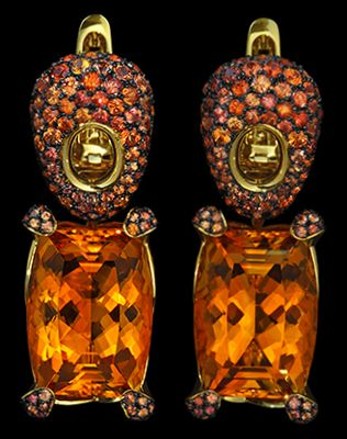 "Mousson Atelier New Age """"Sabre"""" Gold Citrine & Sapphire Earrings E0049-1/4"