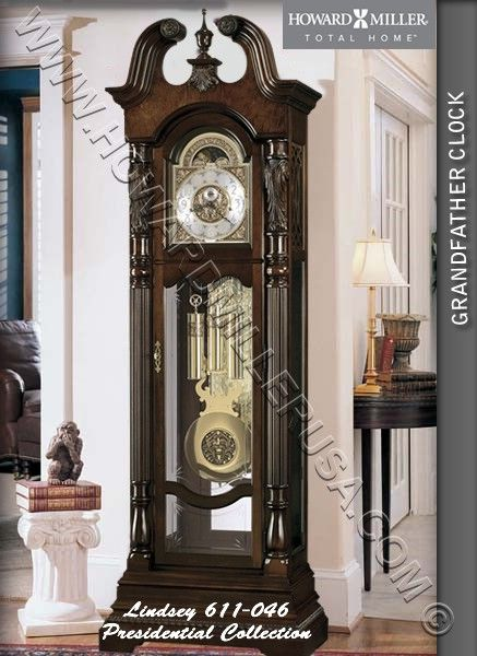 611-046 Howard Miller Floor Grandfather Clock  This richly decorated grandfather clock is crowned by an elegant, hand-rubbed swan neck pediment. An astrological blue moon phase draws attention to the polished brass dial. Crystal-cut and grooved glass enhances the front lower door. Cable-driven, triple chime Kieninger movement.