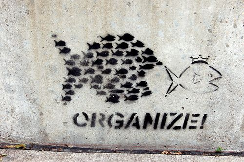 Organize! (fish) Stencil Street Art - Artist Unknown