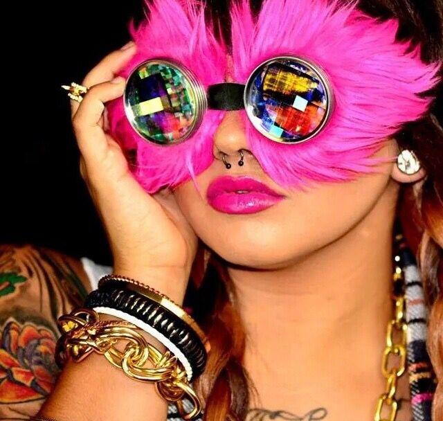 H0les eyewear Fuzzy pink raver girl style goggles