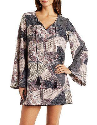 Bell Sleeve Patchwork Print Shift Dress: Charlotte Russe