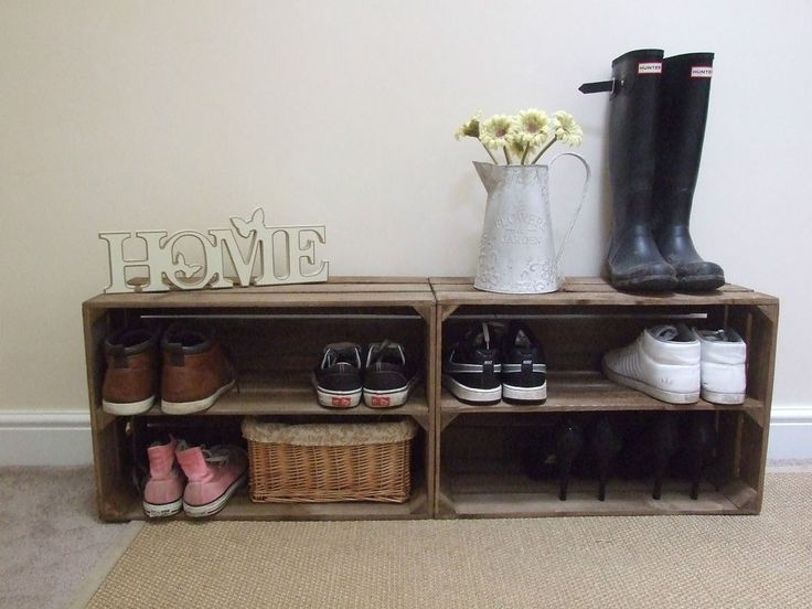 2 x shabby chic wooden shoe rack rustic vintage shoe display shelf apple crate diy ideasshoe
