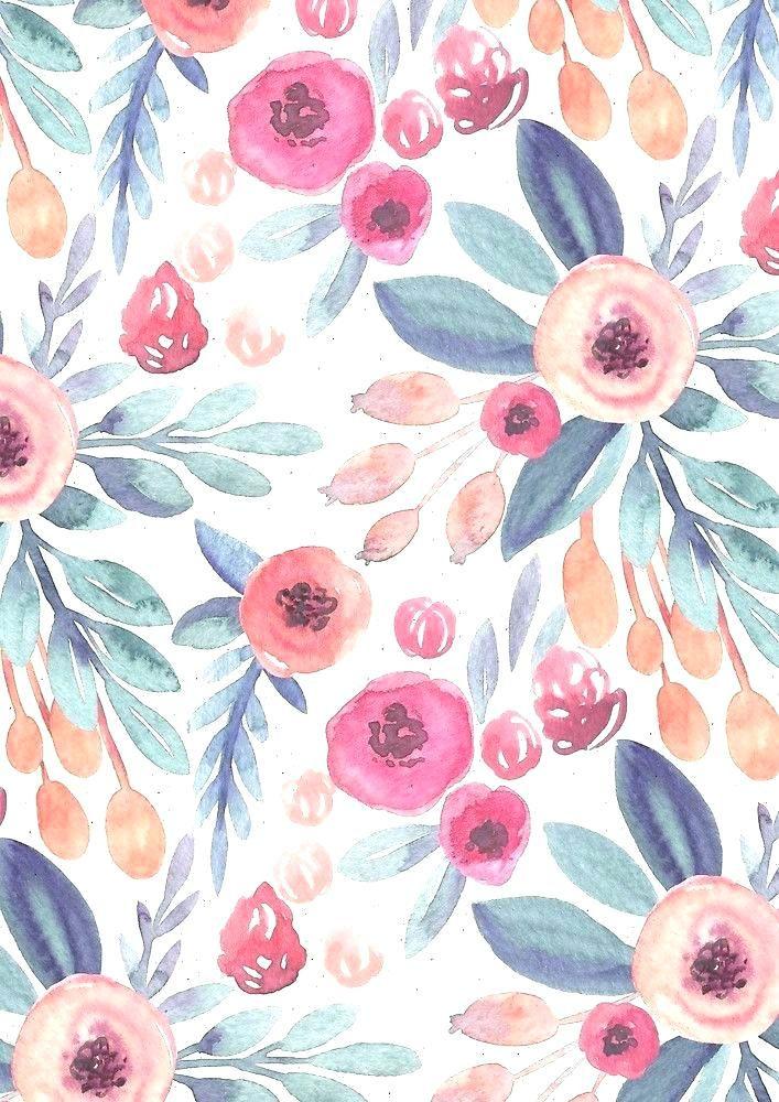 Pin By Jenlongsine On Backgrounds Floral Pattern Wallpaper Floral Wallpaper Iphone Watercolor Wallpaper