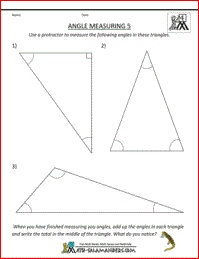 Angle Measuring, measure the angles in a triangle and add them up - what do you notice? A 4th grade geometry worksheet