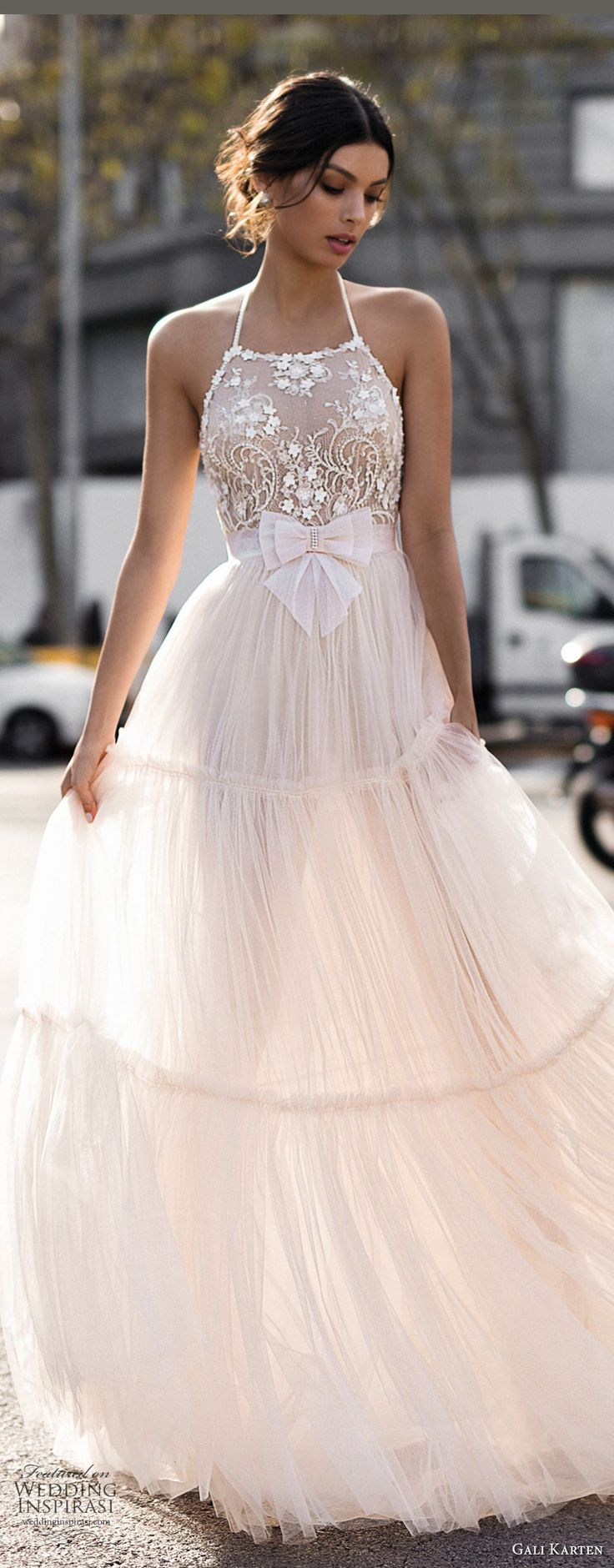 Gali Karten 2017 bridal sleeveless halter neck heavily embellished bodice romantic a line wedding dress open strap back sweep train