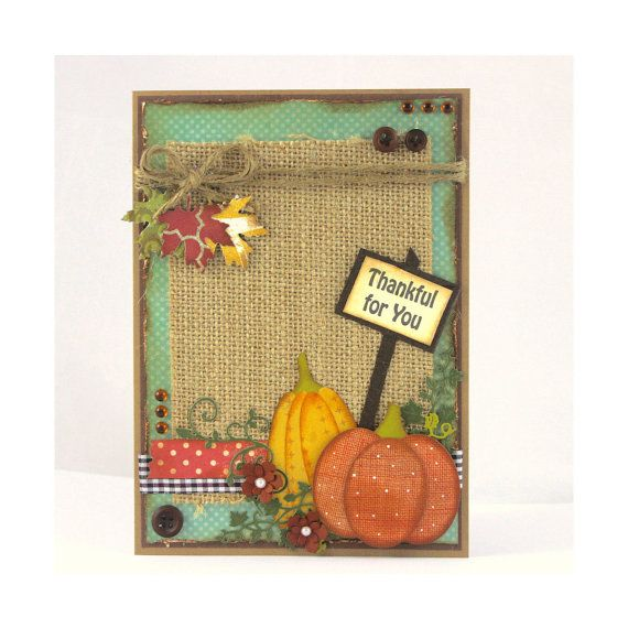 Handmade Thanksgiving Card  Thankful for you  by CardamomsArt.