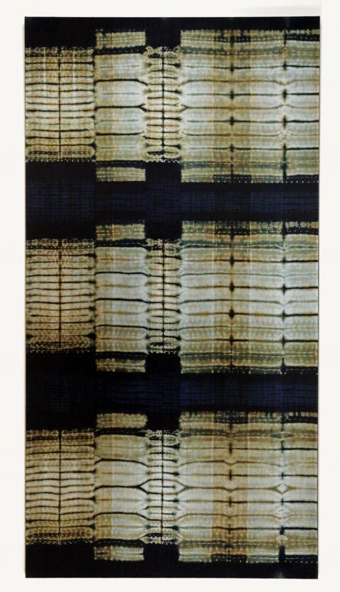 "Frank Connet ""Limestone"", 2011 Indigo and walnut dyes on wool using shibori sewn resist. Mounted on stretcher. 84"" X 43"""